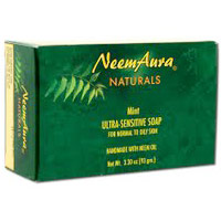 Ultra-Sensitive Bar Soap, Mint, For Normal to Oily Skin, 3.3 oz (93 g), Neem Aura
