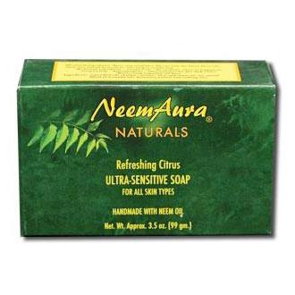 Ultra-Sensitive Bar Soap, Refreshing Citrus, For All Skin Types, Neem Aura