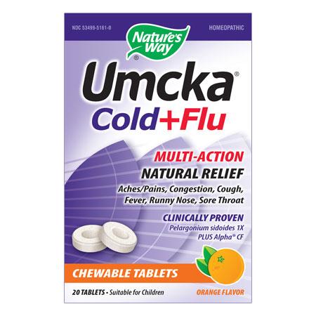 Umcka Cold & Flu Orange Chewable, 20 Tablets, Natures Way