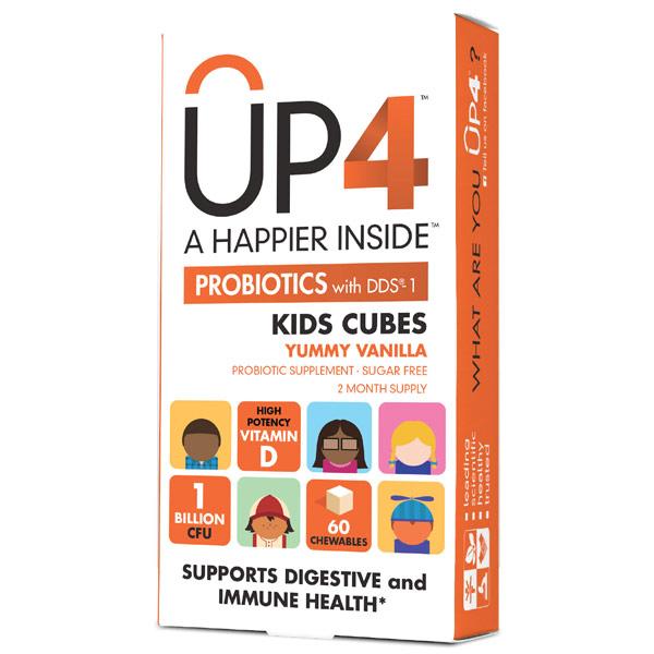 UP4 Kids Cubes Probiotic with D3, Natural Vanilla Flavor for Children, 60 Chewables, UP4 Probiotics