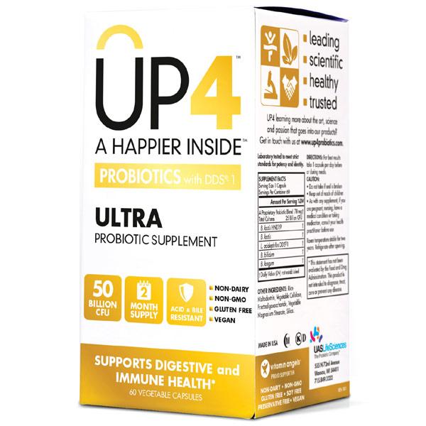 UP4 Ultra Probiotic High Potency, 50 Billion CFU, 60 Vegetable Capsules, UP4 Probiotics