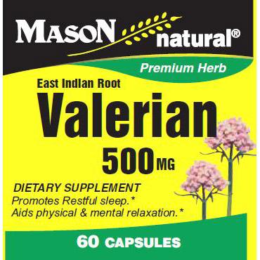 Valerian 500 mg, 60 Capsules, Mason Natural