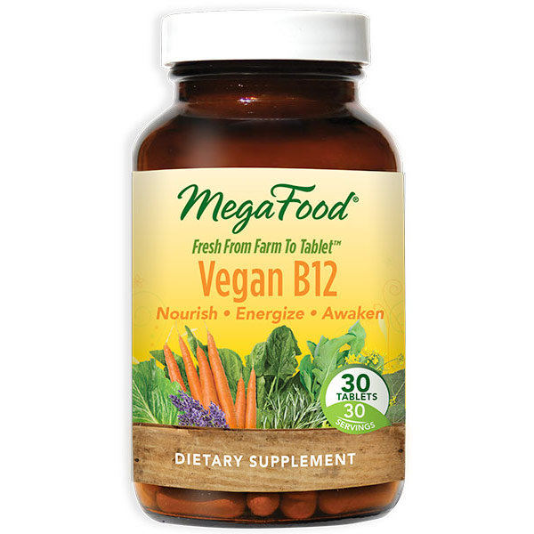Vegan B12, Vegetarian Vitamin B-12, 30 Tablets, MegaFood