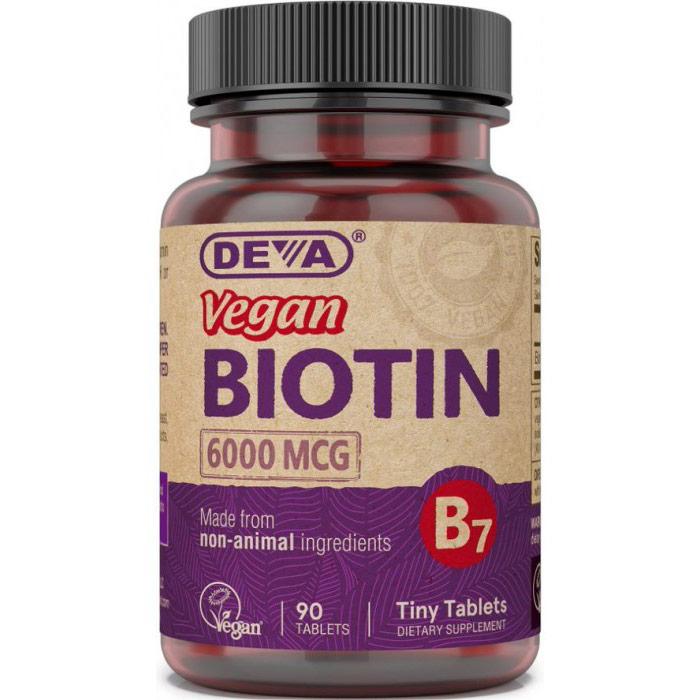 Vegan Biotin 6000 mcg, 90 Tablets, Deva Nutrition