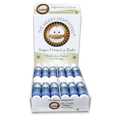 Vegan Hemp Lip Balm, Peppermint, 0.14 oz, Merry Hempsters