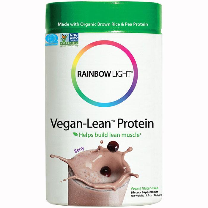 Vegan-Lean Protein - Berry, Organic Brown Rice & Pea Protein Blend, 13.8 oz (24 Servings), Rainbow Light