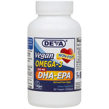 Vegan Omega-3 DHA-EPA 300 mg, 90 Vegan Softgels, Deva Vegetarian Nutrition