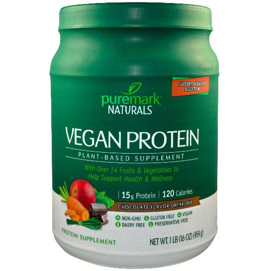 Vegan Protein, Plant-Based Supplement, Chocolate Flavor Drink Mix, 16 oz, PureMark Naturals