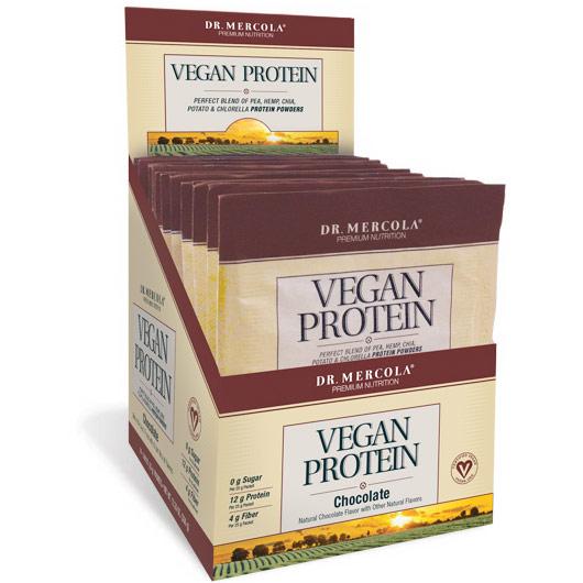 Vegan Protein Single Serve Box - Chocolate, 14 Packets, Dr. Mercola