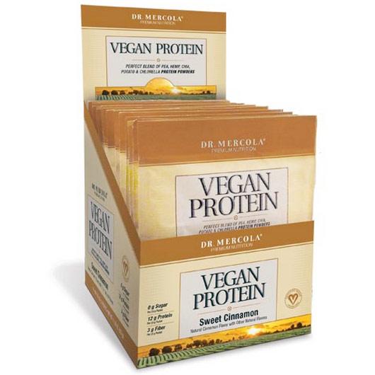 Vegan Protein Single Serve Box - Sweet Cinnamon, 14 Packets, Dr. Mercola