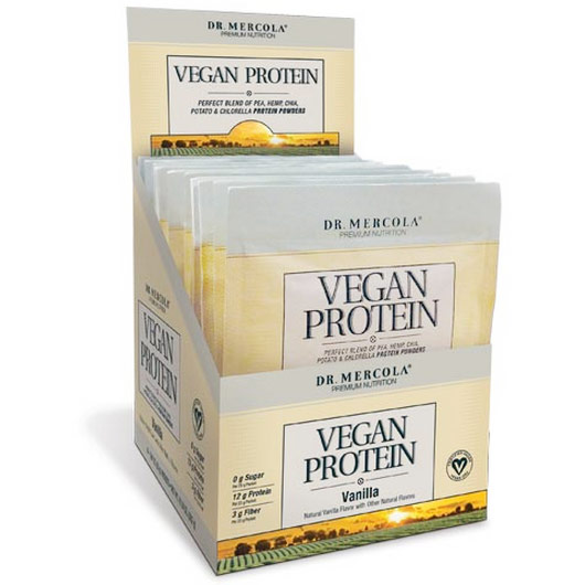 Vegan Protein Single Serve Box - Vanilla, 14 Packets, Dr. Mercola