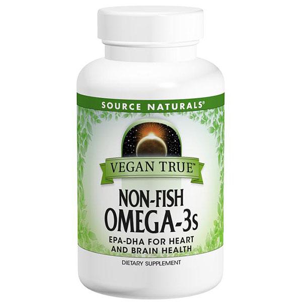Vegan True Non-Fish Omega-3s, Vegetarian Alternatives to Fish Oil, 30 Softgels, Source Naturals