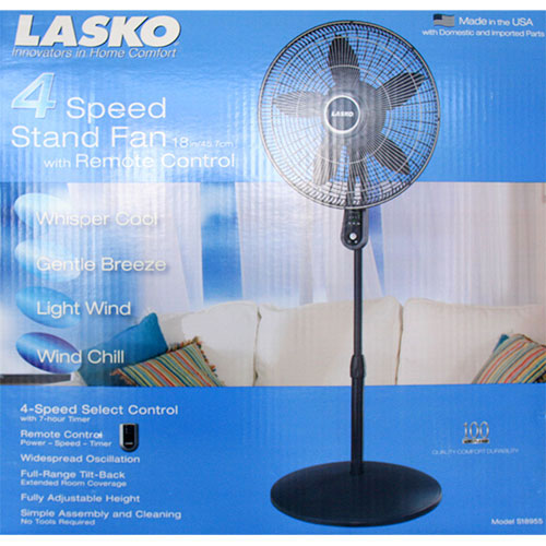Lasko Stand Fan 18 Inch, 4 Speed with Remote Control