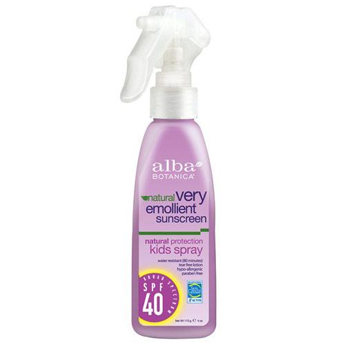 Natural Very Emollient Sunscreen, Natural Protection Kids Spray SPF 40, 4 oz, Alba Botanica