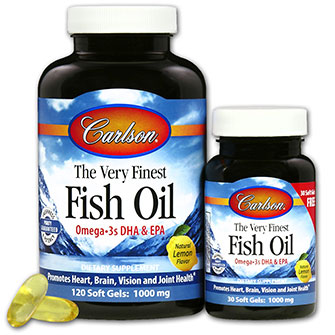 The Very Finest Fish Oil 1000 mg, Lemon Flavor, 120 + 30 Free Softgels, Carlson Labs