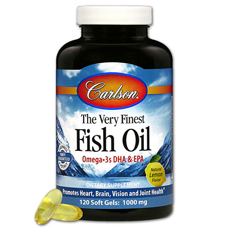 The Very Finest Fish Oil 1000 mg, Lemon Flavor, 120 Softgels, Carlson Labs