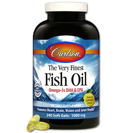 The Very Finest Fish Oil 1000 mg, Lemon Flavor, 240 Softgels, Carlson Labs