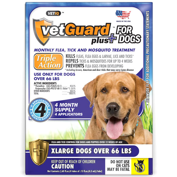 VetIQ VetGuard Plus for XLarge Dogs, Flea & Tick Drops, 4 Applicators