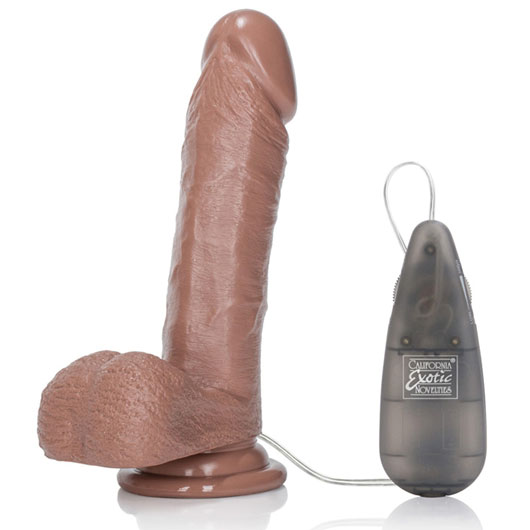Vibrating Emperor Dong 6 Inch Vibrator with Suction Cup - Brown, California Exotic Novelties