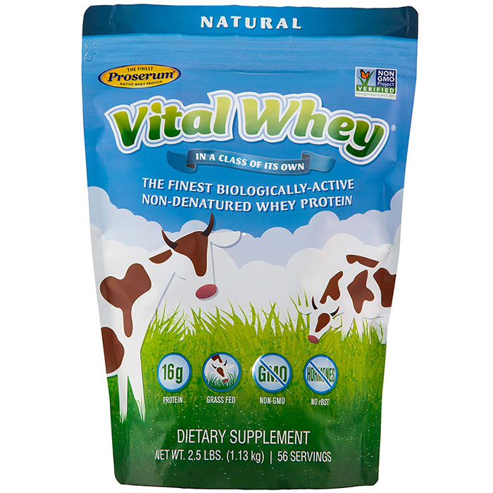 Vital Whey, Grass Fed Whey Protein, Natural, 2.5 lb (1.13 kg), Well Wisdom