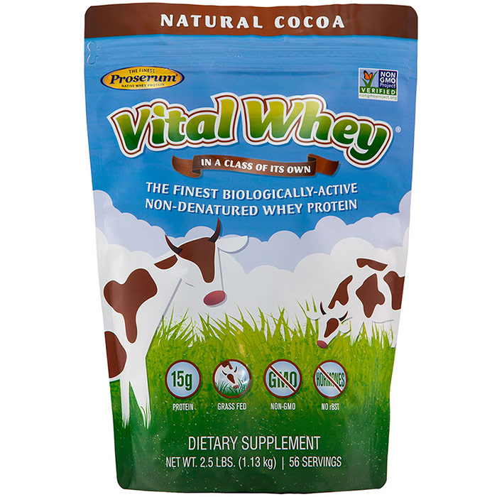 Vital Whey, Grass Fed Whey Protein, Natural Cocoa, 2.5 lb (1.13 kg), Well Wisdom