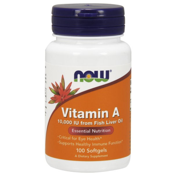 Vitamin A 10000 IU, 100 Softgels, NOW Foods