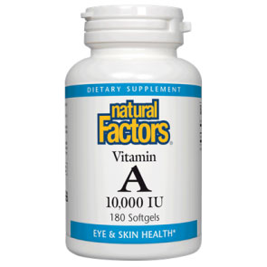 Vitamin A 10000 IU 180 Softgels, Natural Factors
