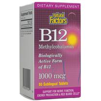 Vitamin B-12 Methylcobalamin 90 Tablets, Natural Factors