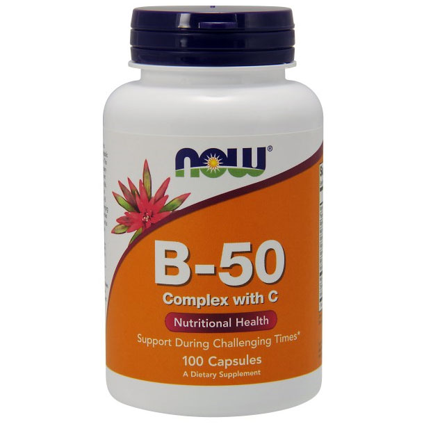 Vitamin B-50 Complex With 250mg Vitamin C 100 Caps, NOW Foods