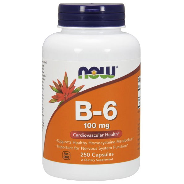 Vitamin B-6 (Vitamin B6) 100mg 250 Caps, NOW Foods
