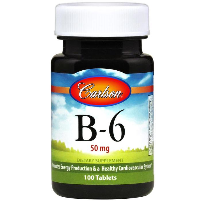 Vitamin B-6 50 mg Tabs, 200 Tablets, Carlson Labs