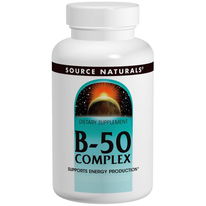 Vitamin B-50 Complex, Supports Energy Production, 250 Tablets, Source Naturals