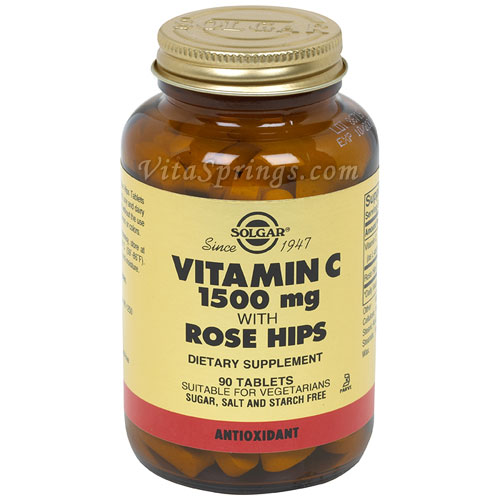 Vitamin C 1500 mg with Rose Hips, 90 Tablets, Solgar
