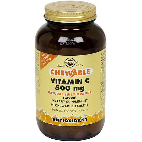 Vitamin C 500 mg Chewable - Juicy Orange Flavor, 90 Tablets, Solgar