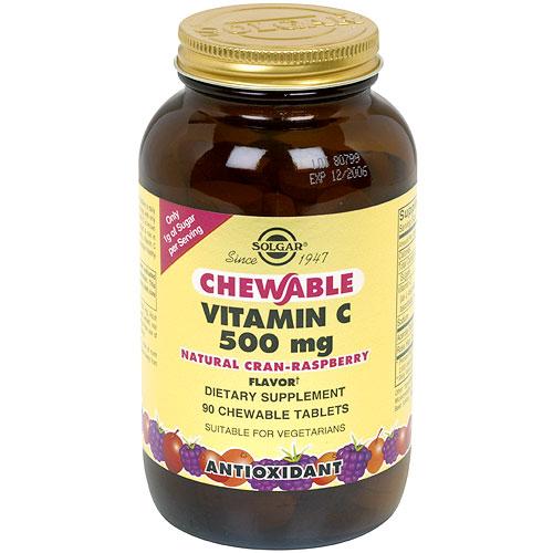 Vitamin C 500 mg Chewable - Cran Raspberry Flavor, 90 Tablets, Solgar