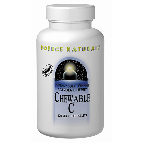 Vitamin C Acerola Chewable w/Bioflavonoids 120mg 100 tabs from Source Naturals