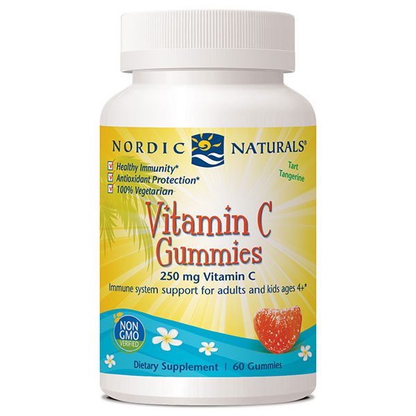 Vitamin C Gummies for Adults and Kids - Tart Tangerine, 60 Gummies, Nordic Naturals