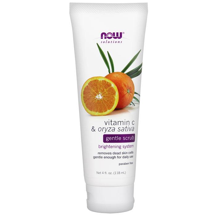Vitamin C & Oryza Sativa Gentle Scrub, 4 oz, NOW Foods