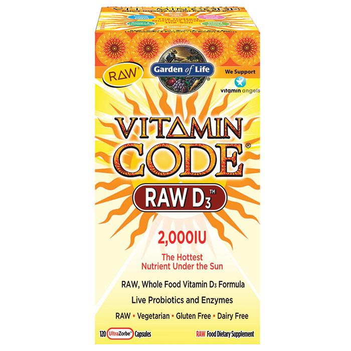 Vitamin Code RAW D3 2000 IU, Whole Food Vitamin D, 120 Vegetarian Capsules, Garden of Life