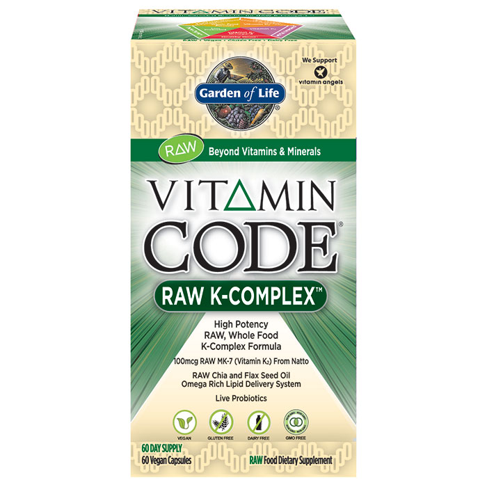 Vitamin Code RAW K-Complex, Whole Food Vitamin K Formula, 60 Vegan Capsules, Garden of Life