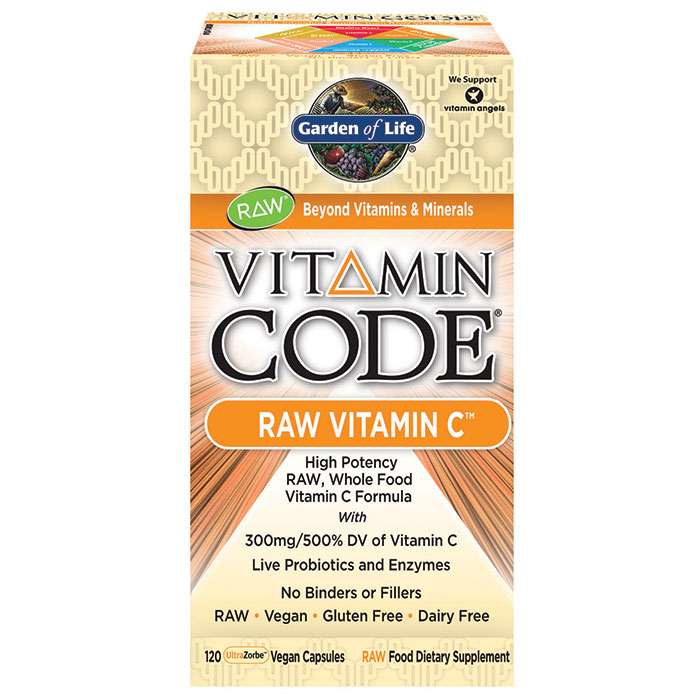 Vitamin Code RAW Vitamin C, 500 mg Whole Food with Bioflavonoids, 120 Vegan Capsules, Garden of Life
