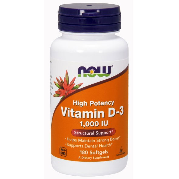 Vitamin D-3 1000 IU, Vitamin D High Potency, 180 Softgels, NOW Foods