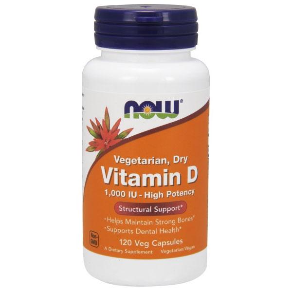 Vitamin D 1000 IU Vegetarian, 120 Vcaps, NOW Foods
