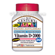 Vitamin D-2000 (D3 2000 IU), 110 Tablets, 21st Century Health Care