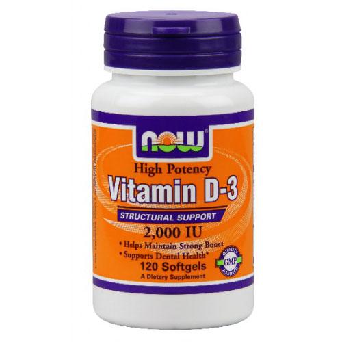 Vitamin D-3 2000 IU, 120 Softgels, NOW Foods