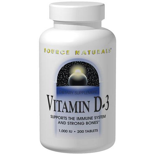 Vitamin D-3 1000 IU, 180 Capsules, Source Naturals