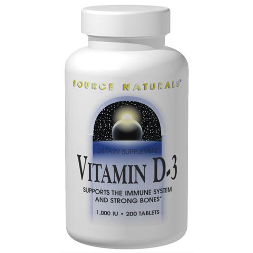 Vitamin D-3 1000 IU, 200 Softgels, Source Naturals