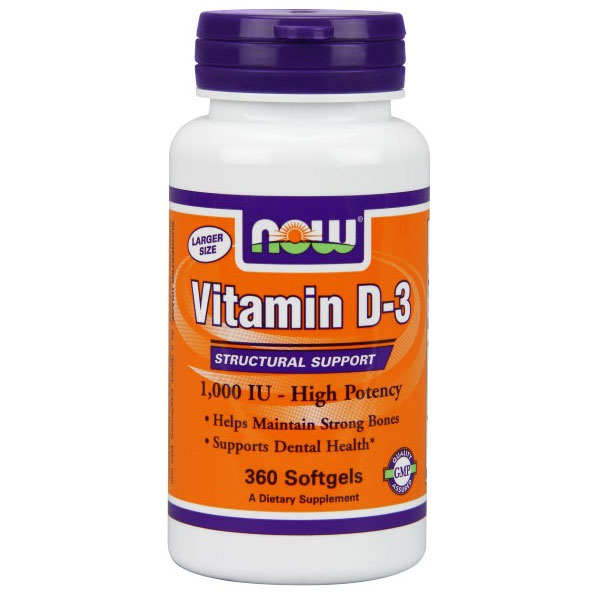 Vitamin D-3 1000 IU, 360 Softgels, NOW Foods