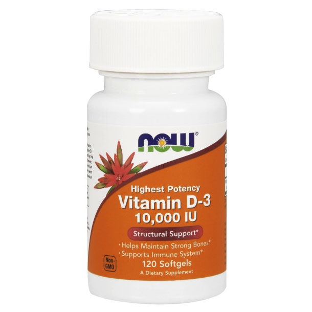 Vitamin D-3 10,000 IU, 120 Softgels, NOW Foods