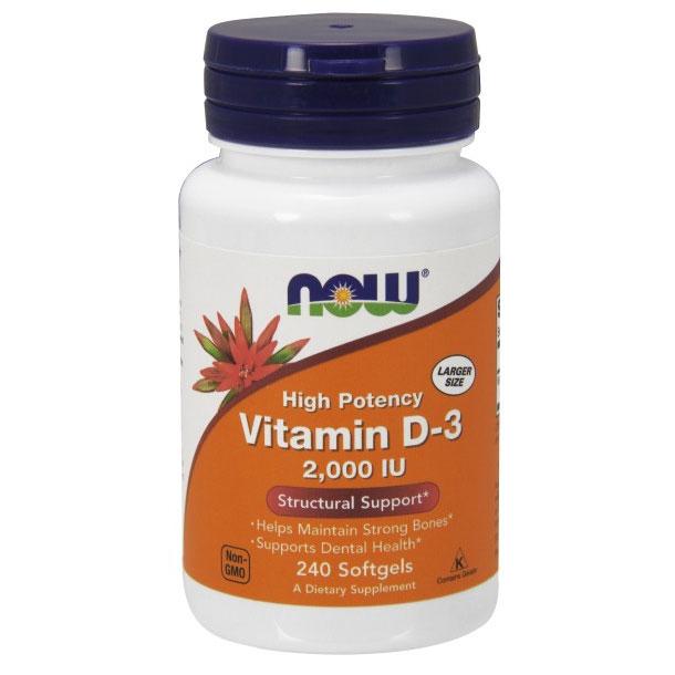 Vitamin D-3 2000 IU, 240 Softgels, NOW Foods